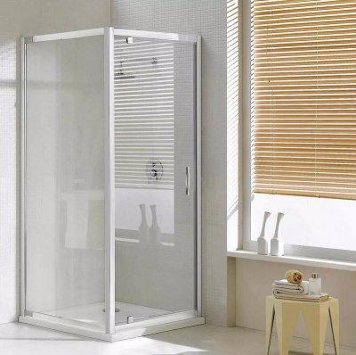 Box doccia due lati anta fissa e porta battente cristallo 6mm h.198cm Sumba Duo