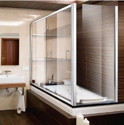 Mitepek it box vasca parete doccia scorrevole con lato fisso in cristallo austin - Box per vasca da bagno ...