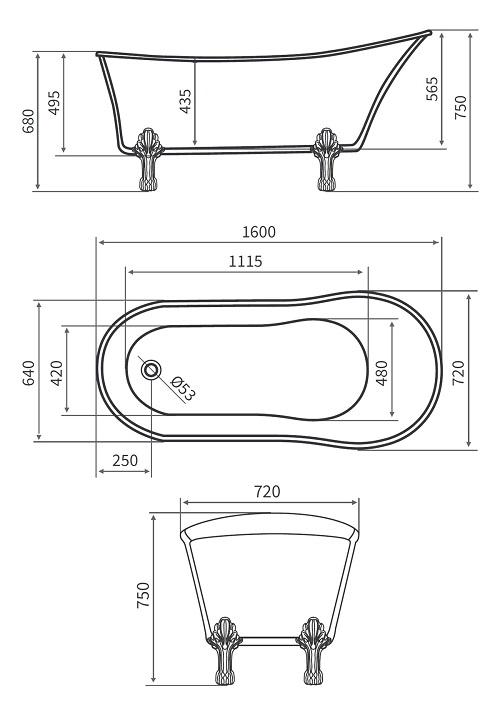 Vasca da bagno in stile inglese freestanding 160x72x75cm leona ebay for Vasca da bagno in inglese