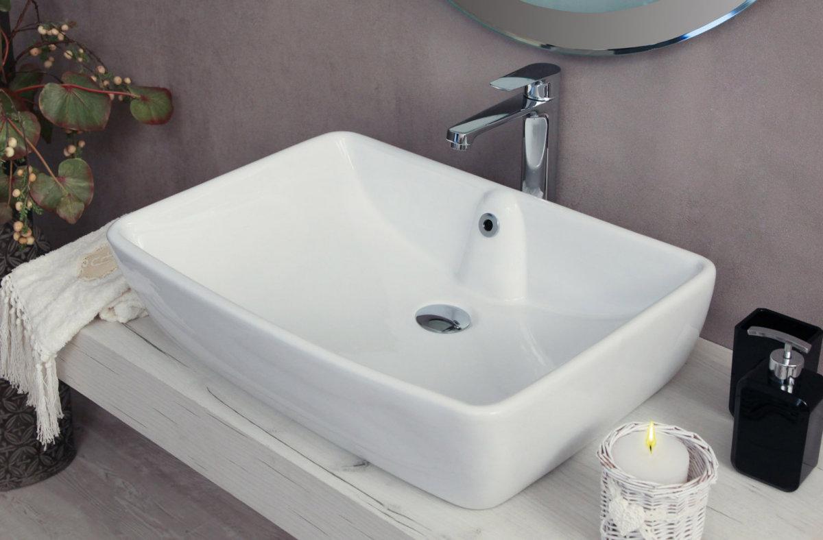 Lavello Bagno Da Appoggio dettagli su lavabo da appoggio con troppo pieno 59x42x15.5 cm conny