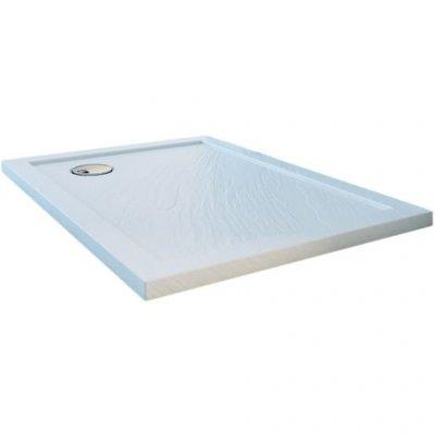 Piatto doccia in acrilico e abs effetto pietra h.4cm DROP STONE WHITE