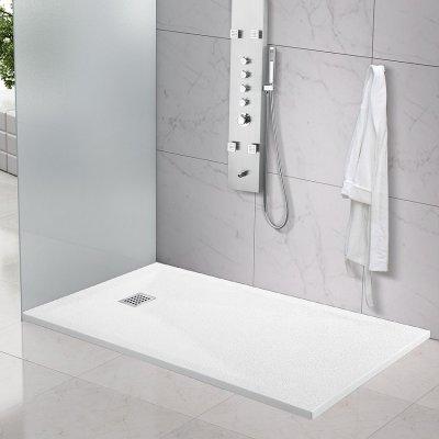 Piatto doccia in marmoresina quadrato, rettangolare effetto BUGNATO