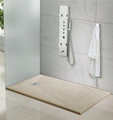 Piatto doccia in marmoresina quadrato, rettangolare effetto BUGNATO BEIGE TORTORA