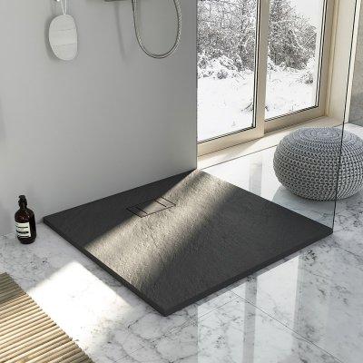 Piatto doccia in smc effetto pietra grigio antracite h.2,6cm ZAR
