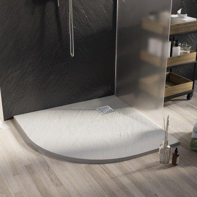 Piatto doccia semicircolare in smc effetto pietra bianco h.2,6cm ZAR