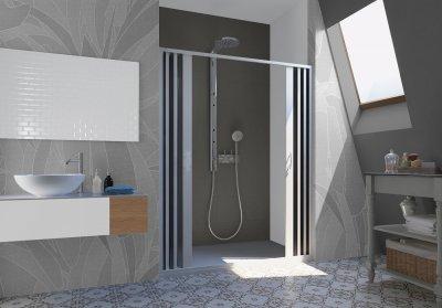 Porta doccia a pacchetto pieghevole centrale pvc bianco h.185cm box doccia MITE