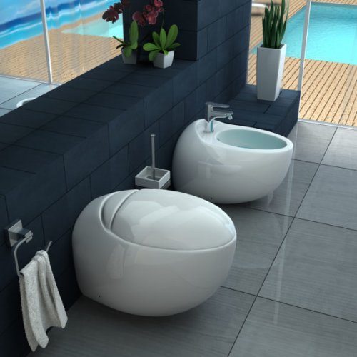 Sanitari a terra wc, bidet e copriwater soft close NUVOLA